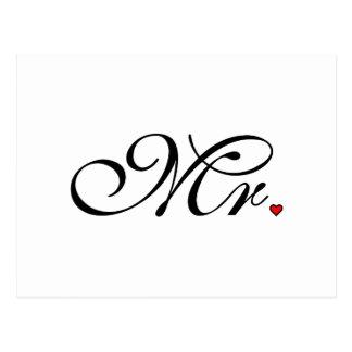 Mr. Husband Groom His Her Newly Weds Postcard