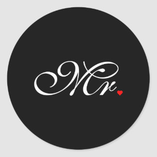 Mr. Husband Groom His Hers Newly Weds Classic Round Sticker