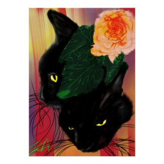 Mr. Kitty by ICAhuman Poster - cute black cat wall decor