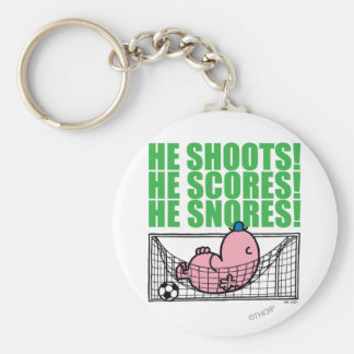 Mr. Lazy Napping In A Soccer Goal Basic Round Button Keychain