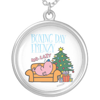 Mr. Lazy Resting On A Couch Round Pendant Necklace