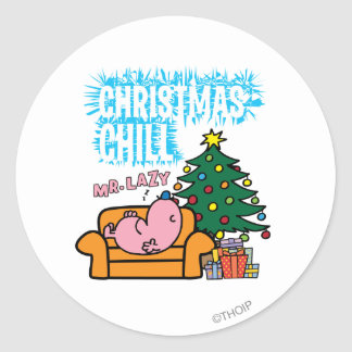 Mr. Lazy's Christmas Chill Classic Round Sticker
