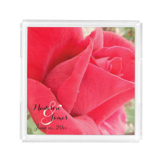 Mr. Lincoln Red Rosebud Monogrammed Serving Tray