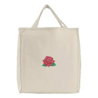Mr. Lincoln Rose Embroidered Tote Bag