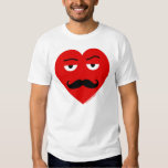 Mr. Love Red Heart With Eyes And Mustache T-shirt
