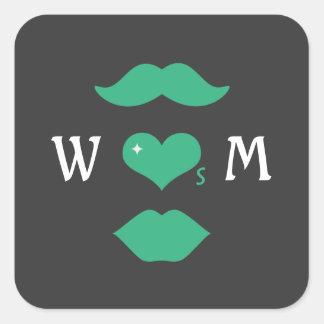 Mr Loves Mrs Monogram Square Sticker