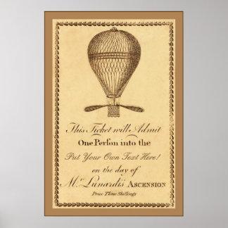 Mr. Lunardi's Ascension ~ 1784 ~ Vintage English Poster