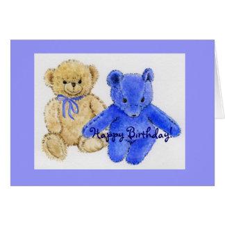 Mr. McCuddles and Blue Bear Happy Birthday Greeting Card