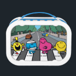 """Mr. Men Abbey Road Walkers Lunch Box<br><div class=""""desc"""">Check out this great design of the Fab Four taking a walk across Abbey Road. No, not that Fab Four. We&#39;re talking about Mr. Funny, Mr. Bump, Mr. Greedy and Mr. Happy! These four characters from the Mr. Men series are having a great time remaking this classic album cover, and...</div>"""