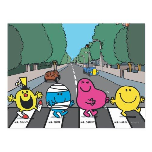 Mr Men Abbey Road Walkers Postcard