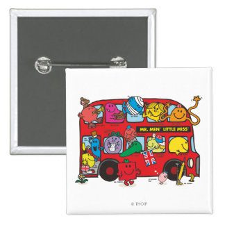 Mr. Men & Little Miss Crowded Bus Button