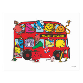 Mr. Men & Little Miss Crowded Bus Postcard