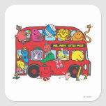 Mr. Men & Little Miss Crowded Bus Square Sticker