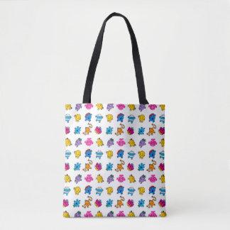 Mr Men & Little Miss | Dancing Neon Pattern Tote Bag