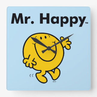 Mr. Men | Mr. Happy Is Always Happy Square Wall Clock