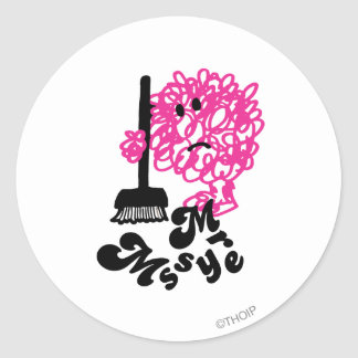 Mr. Messy | Broom & Name Classic Round Sticker