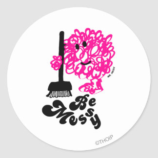 Mr. Messy Cleaning Up Classic Round Sticker