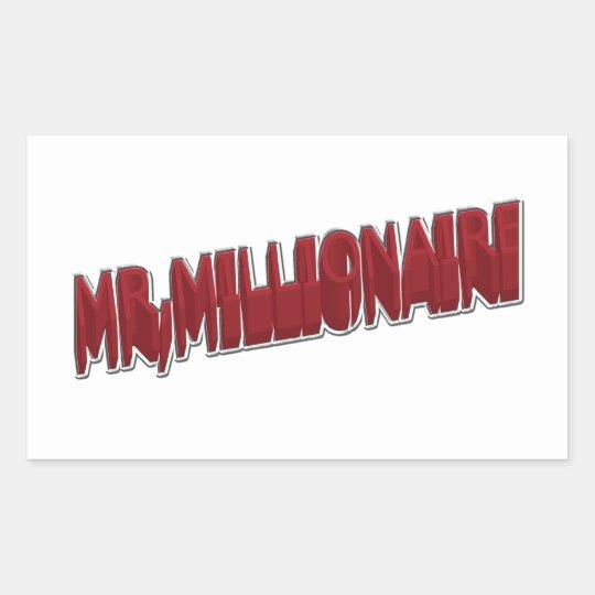 MR,Millionaire Red 3 Dimension Rectangular Sticker