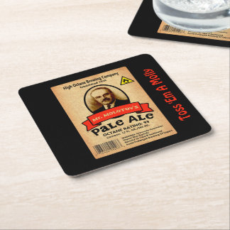 Mr. Molotov's Pale Ale Label Square Paper Coaster