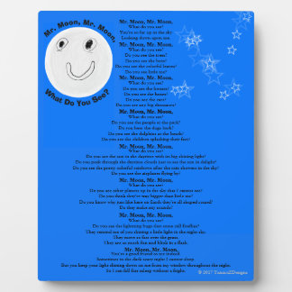 Mr. Moon Mr. Moon What Do You See? Children's Poem Plaque