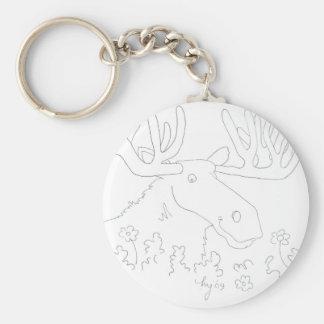 Mr. Moose Basic Round Button Keychain