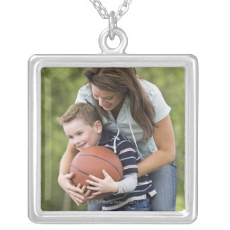 MR mother (age 26) playing basketball with son Silver Plated Necklace
