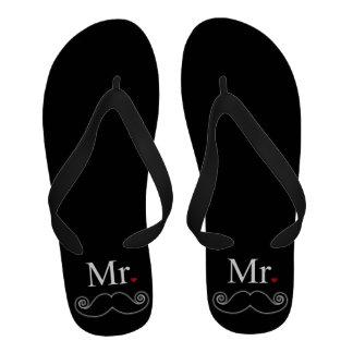 Mr Moustache Flip Flops