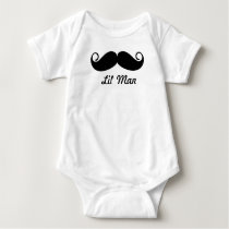 Mr. Moustache Hipster Pattern Baby Bodysuit