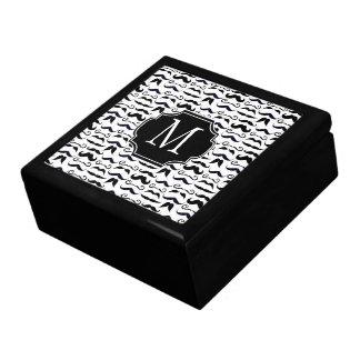 Mr. Moustache Hipster Pattern Jewelry Box