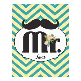 Mr. Moustache Hipster Pattern Letterhead