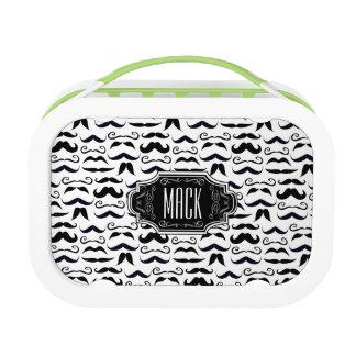 Mr. Moustache Hipster Pattern Lunch Box
