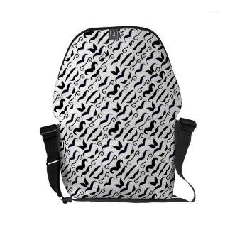 Mr. Moustache Hipster Pattern Small Messenger Bag