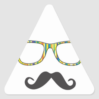 Mr Moustache Hipster Triangle Sticker