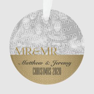Mr. & Mr. | 1st Christmas | Custom Gold Photo Ornament