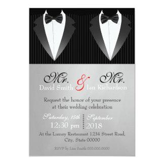 Mr. & Mr. Bow 5x7 Paper Invitation Card