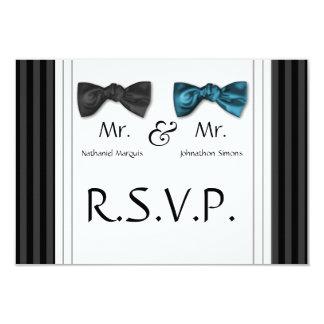 Mr & Mr Bow Ties & Pin Striped RSVP Card