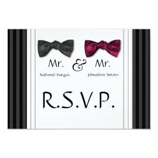 """Mr & Mr Bow Ties & Pin Striped RSVP Card 3.5"""" X 5"""" Invitation Card"""