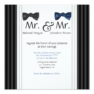 Mr. & Mr. Bow Ties & Pin Striped Wedding Invite
