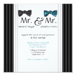 """Mr. & Mr. Bow Ties & Pin Striped Wedding Invite 5.25"""" Square Invitation Card"""