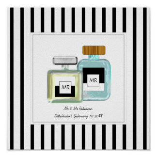 Mr & Mr Cologne Bottles Personalized Wedding Poster
