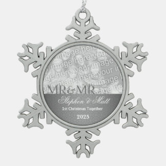 Mr. & Mr. Gay | 1st Christmas | Silver Photo Snowflake Pewter Christmas Ornament