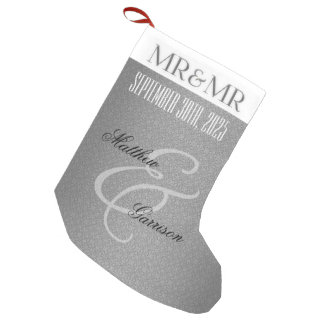Mr. & Mr. Gay Wedding | Christmas | Custom Silver Small Christmas Stocking