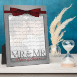 "Mr &amp; Mr Gay Wedding Photo Frame in Silver<br><div class=""desc"">Lovely gift for the gay newlyweds. Add a wedding photo and their last name,  or first names if they aren&#39;t taking one name. Done in an elegant silver print and red bow. Great wedding gift or anniversary gift for the grooms.</div>"