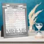 "Mr &amp; Mr Gay Wedding Photo Frame in Silver<br><div class=""desc"">Lovely gift for the gay newlyweds. Add a wedding photo and their last name,  or first names if they aren&#39;t taking one name. Done in an elegant silver print and bow. Great wedding gift or anniversary gift for the grooms.</div>"