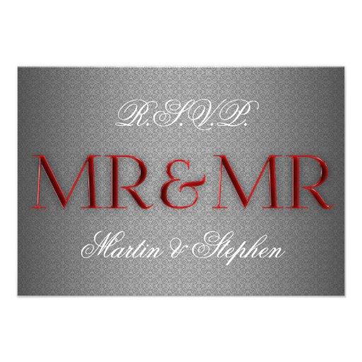 Mr & Mr Gay Wedding RSVP in Silver Custom Invitations