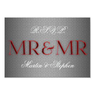 Mr & Mr Gay Wedding RSVP in Silver 3.5x5 Paper Invitation Card