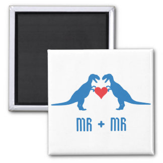 Mr+Mr - Love is Love Dinosaurs 2 Inch Square Magnet