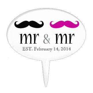 Mr & Mr Mustache Wedding Cake Topper