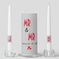 Mr & Mr Personalized Gay Marriage Wedding Gift Unity Candle Set
