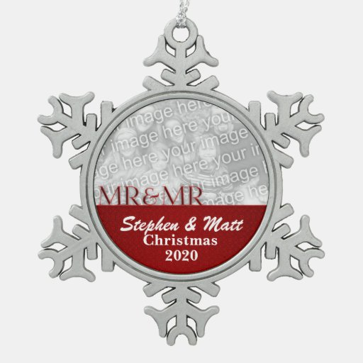 Mr. & Mr. Red Gay Marriage Christmas Photo Snowflake Pewter Christmas Ornament